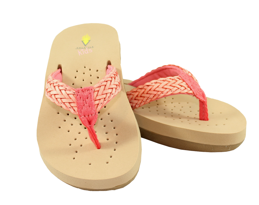 Braided Thong Sandal in Coral by Volatile Kids