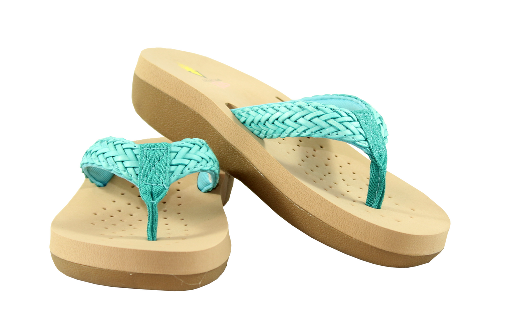 Braided Thong Sandal in Turquoise by Volatile Kids