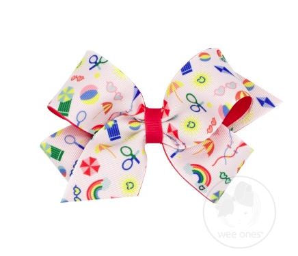 Wee Ones - Medium Vintage Vacation Print Bows