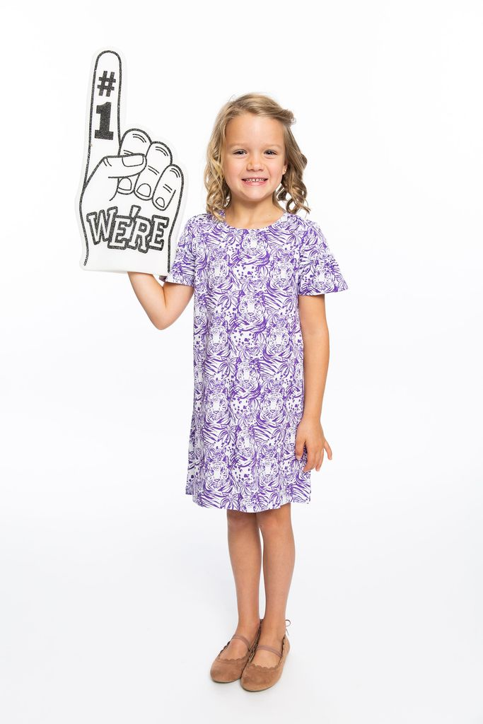 Clemson Girls' Orange or Purple Hidden Tiger Print Dress