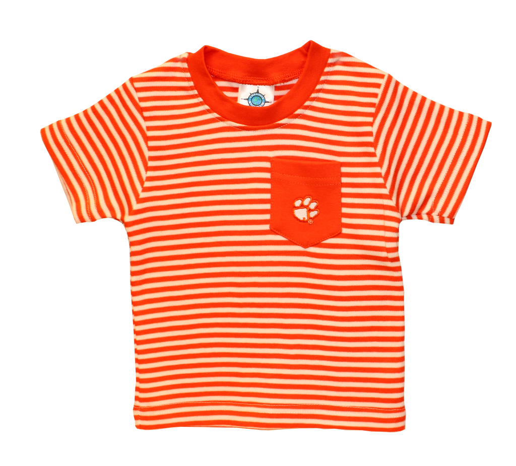 Clemson University Striped T-shirt with Pocket