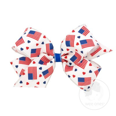 Wee Ones Hair Bow - Patriotic Flags