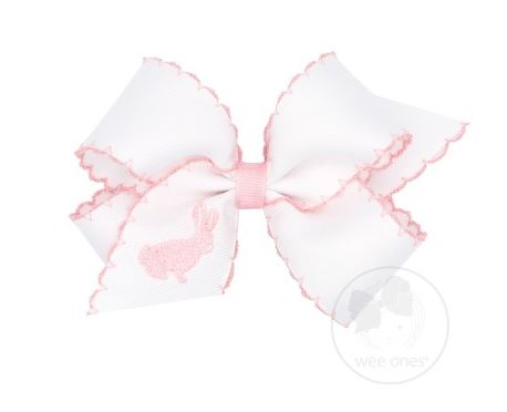 Wee Ones - Medium Moonstitch Bow with Embroidered Bunny