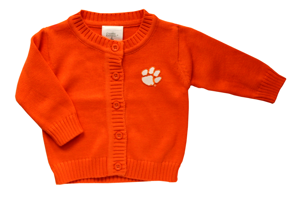 Clemson Orange Cardigan Sweater