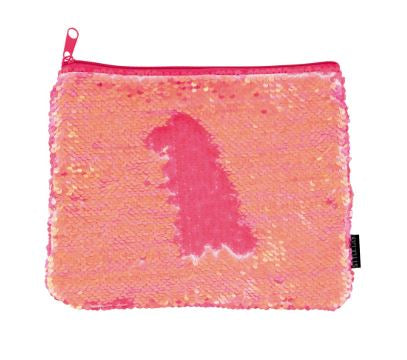 Magic Sequin Coral Irridescent/Matte Zip Pouch