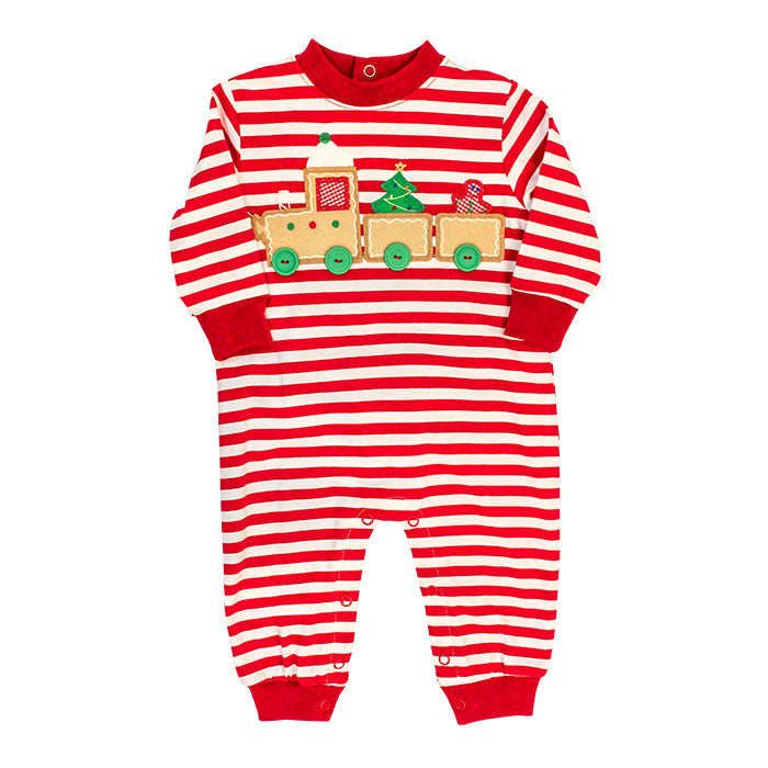 Bailey Boys - Gingerbread Train Knit Romper