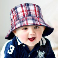 Wee Ones - Boys' Reversible Plaid Print Sun Hat