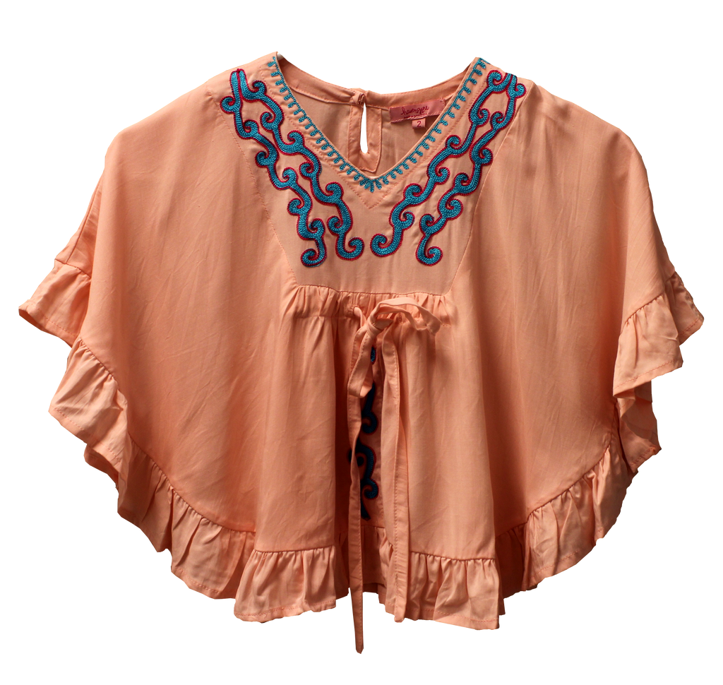 Joyous and Free - Ruffle Kaftan with Embroidery