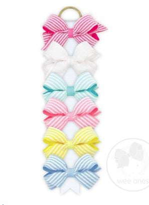 Wee Ones - Mini Seersucker Grosgrain Overlay Bows