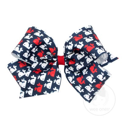 Wee Ones Hair Bow - Navy Whale