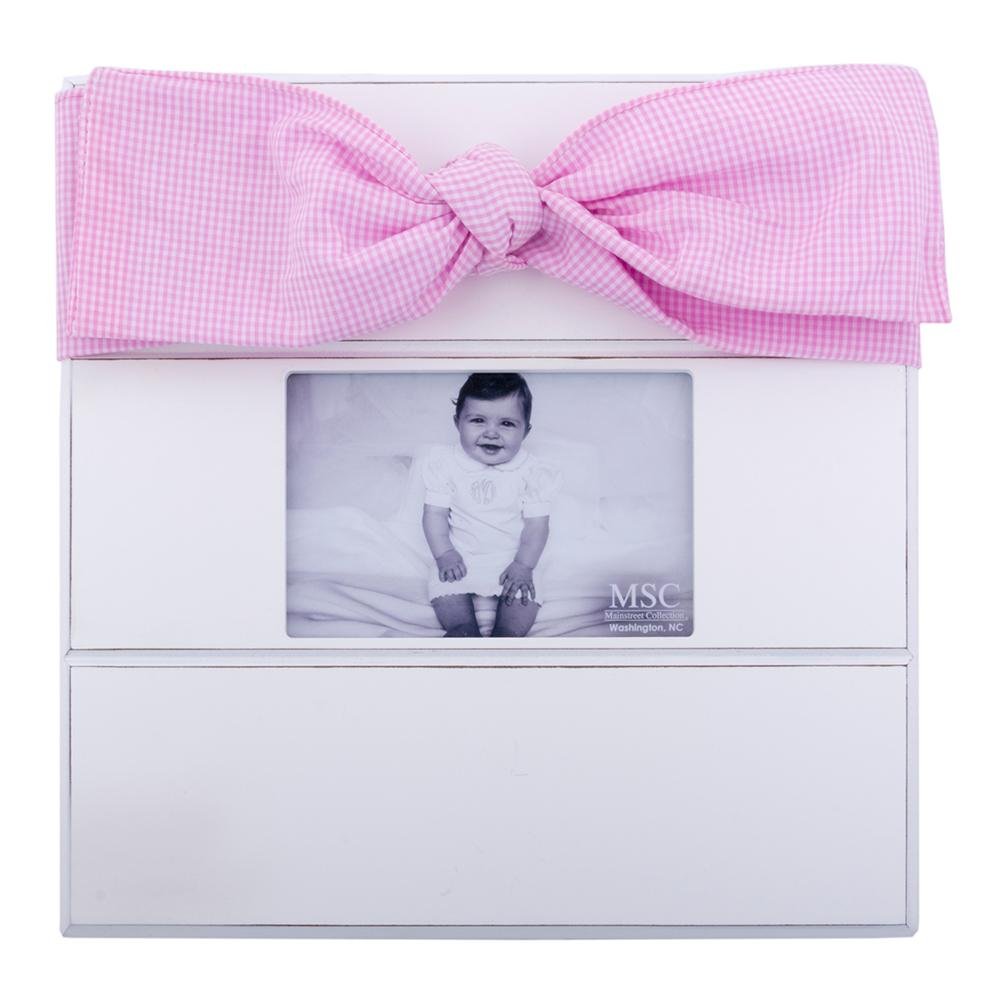 Blue or Pink Gingham Bow Frame