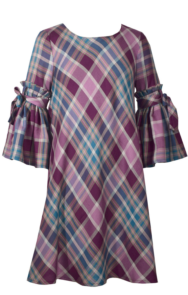 Bonnie Jean - Plum Plaid Pleated Sleeve Dress