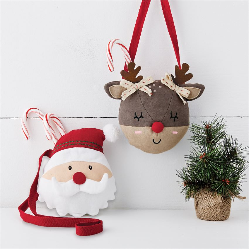 MudPie - Christmas Characters Plush Purse - Santa or Reindeer