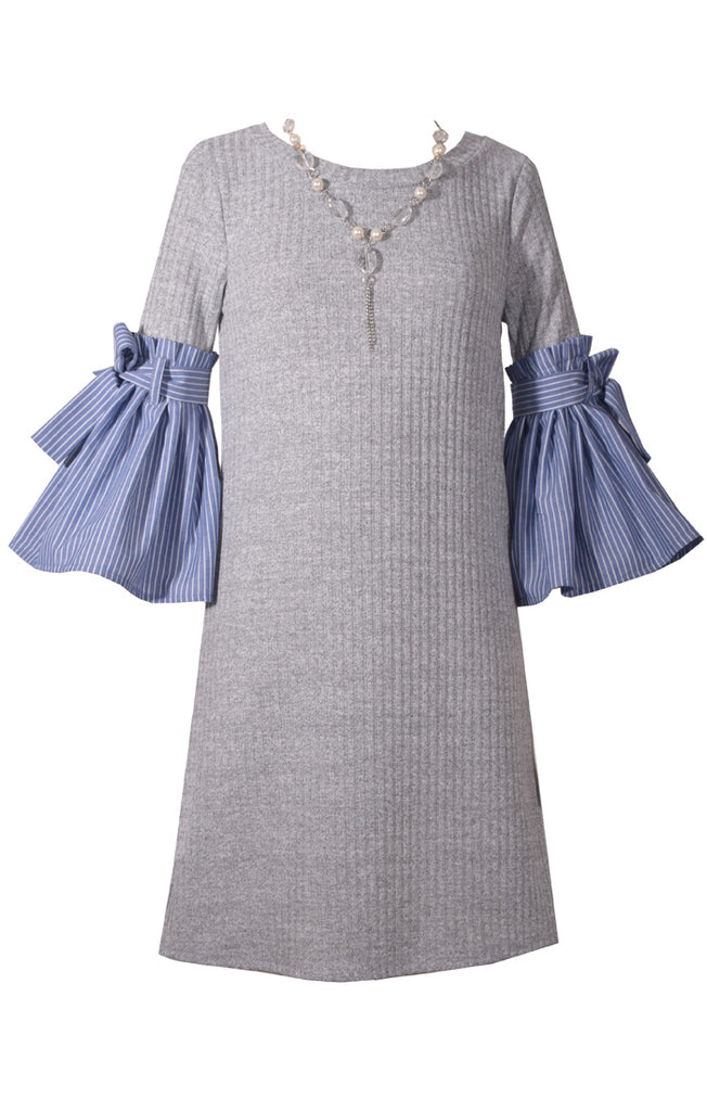 Bonnie Jean - Poorboy Bell Sleeve Sweater Dress