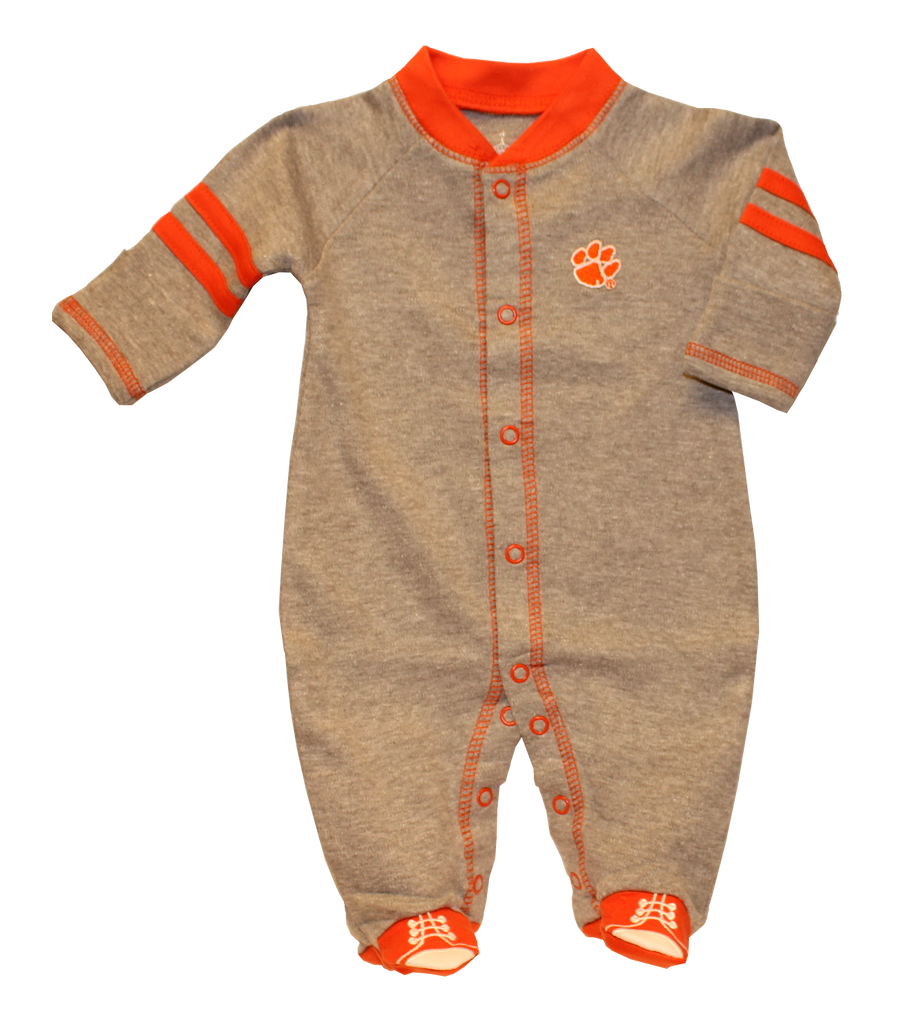 Clemson University Sports Shoe Footed Oxford Gray Romper