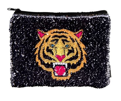Fierce Tiger Magic Sequin Reveal Zip Pouch