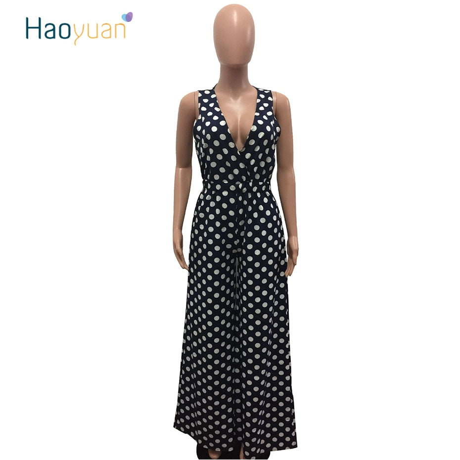 818ee0b683ab HAOYUAN Polka Dot Sexy Jumpsuit Summer New Overalls One Piece Deep-V Neck  Wide Leg