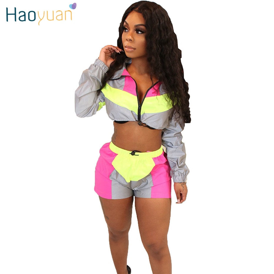 67dcfb6fb539 HAOYUAN Reflective Two Piece Set Women Clothes Festival Crop Top and Biker Shorts  Suit Sexy Club