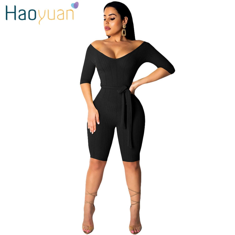 7af3a0875fd HAOYUAN Sexy Playsuit Casual Overalls Streetwear One Piece Off Shoulder  Bodysuit Bodycon Bandage Shorts Rompers Womens Jumpsuit