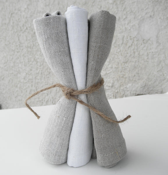 Linen Washcloth. Exfoliating Face Cloth. Set of 3