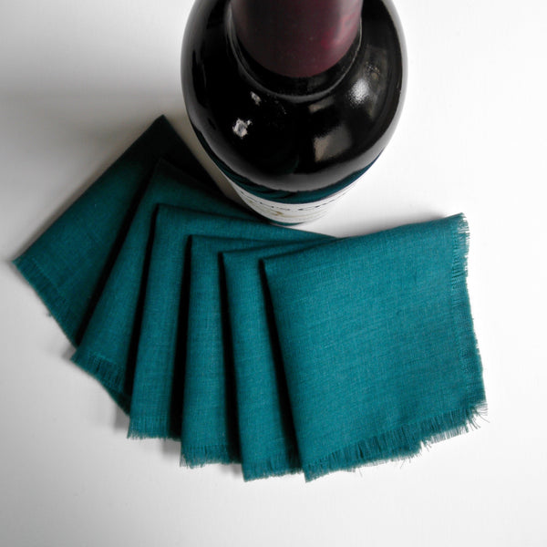 Cocktail Napkins, Teal Linen Cocktail Napkins, Napkins, Appetizer Napkins
