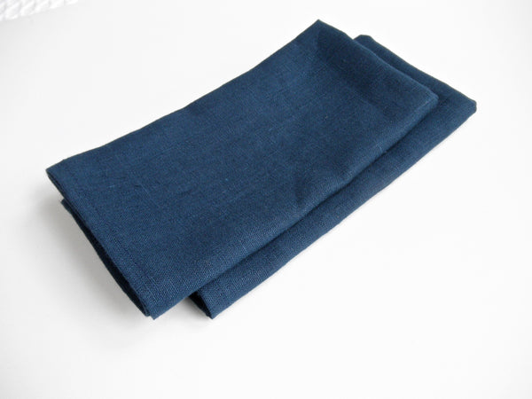 Navy Linen Napkins. Set of 4