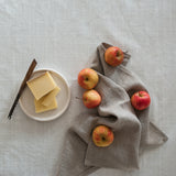 Linen kitchen hand towel in natural linen with a twill tape hanging loop.