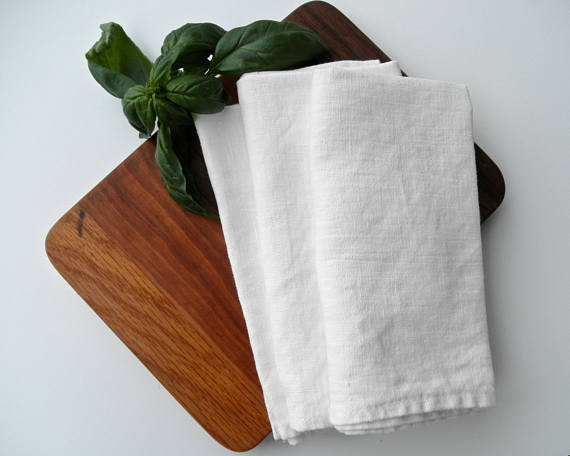 White linen farmhouse napkins