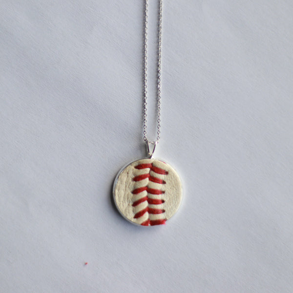 Dainty Chain Baseball Seam Pendant Necklace