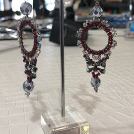 SWAROVSKI DROP EARRINGS FIREPOLISHED RUBY STUD CHANDELEIR