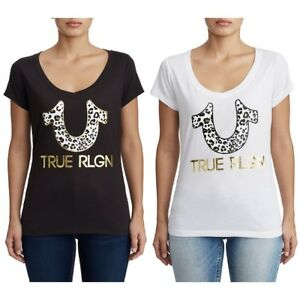 TRUE RELIGION ROUND V NECK T SHIRT LEOPARD HORSESHOE, WHITE