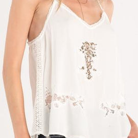MISS ME FLORAL LACE ACCENT CAMI, OFF WHITE