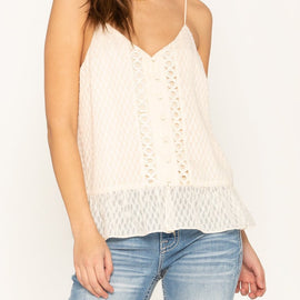 MISS ME LACE TRIM RUFFLE HEM TEXTURED CAMI TOP, CREAM WHITE