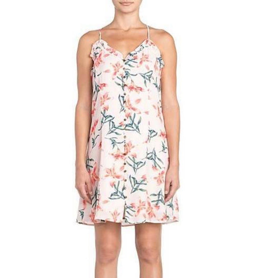 MISS ME FLORAL PRINT RUFFLE TRIM HALTER SHIFT DRESS, PEACH PINK