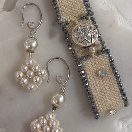BBE SWAROVSKI DIAMANTE &CZECH GLASS RONDELLE BRACELET & EARRING SET
