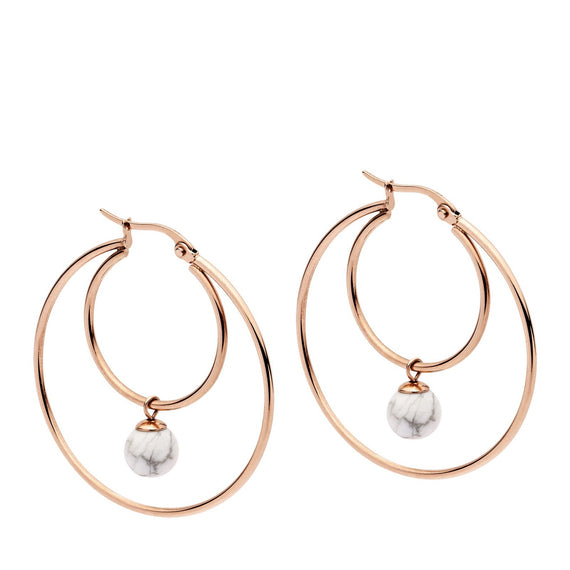 PASTICHE CARRYING STARS EARRINGS IN ROSE GOLD STAINLESS STEEL