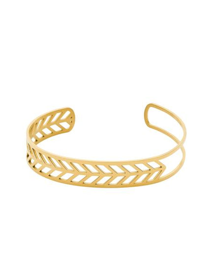 PASTICHE FERN IP YELLOW GOLD PLATED STAINLESS STEEL CUFF