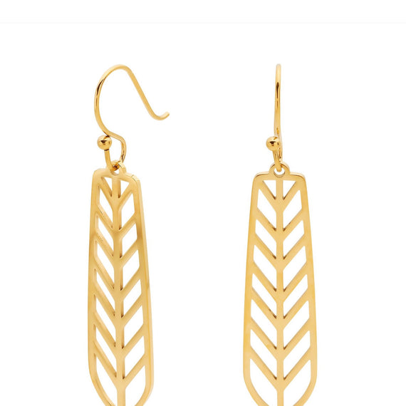 PASTICHE FERN IP YELLOW GOLD PLATED STAINLESS STEEL EARRINGS