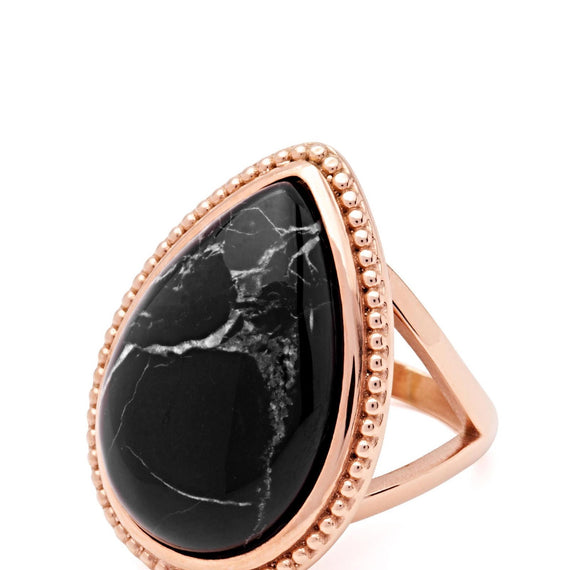 PASTICHE TWILIGHT RING IN ROSE GOLD STAINLESS STEEL, BLACK