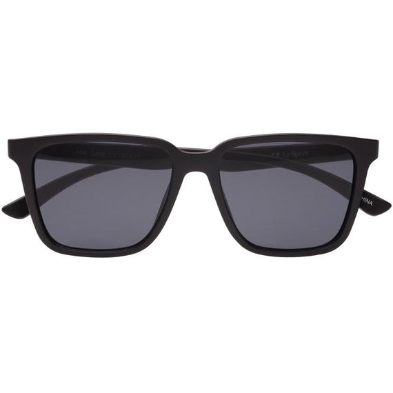 LE SPECS SUNGLASSES, FAIR GAME, MATTE BLACK-SMOKE MONO