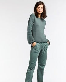 SANDWICH KNIT PULLOVER SWEATER JUMPER, DEEP JADE