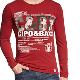 CIPO & BAXX MENS LONG SLEEVE T SHIRT SWEATER, RED