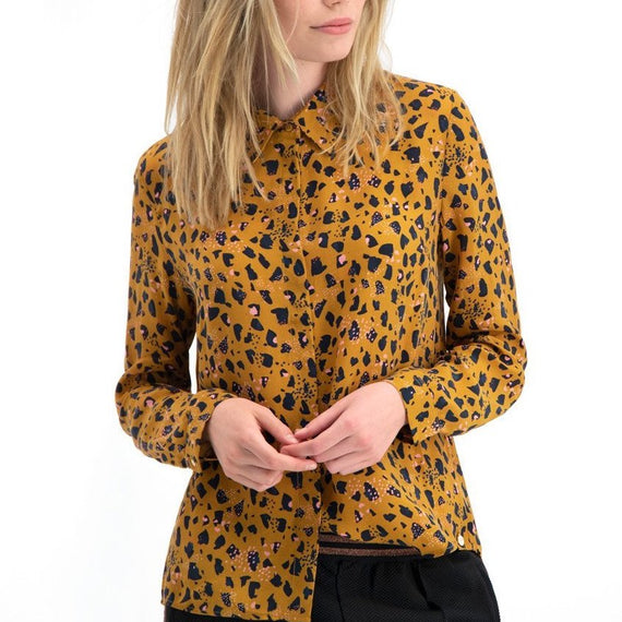 POM AMSTERDAM BLOUSE LONG SLEEVE COLLARED, LEOPARD PRINT, COGNAC