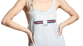 TRUE RELIGION RAW EDGE TR LOGO SCOOP TANK TOP, HEATHER GREY