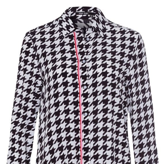 MARC AUREL BLOUSE LONG SLEEVE, HOUNDSTOOTH, BLACK WHITE PINK RED STRIPE
