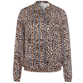 MARC AUREL BLOUSE LOVELY LEO, LEOPARD PRINT BLUE STRIPE