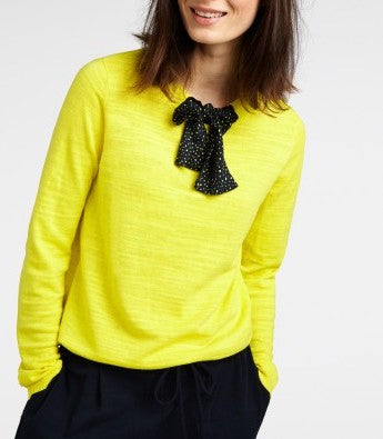 SANDWICH, PULLOVER LONG SLEEVES, TIE NECK, WARM YELLOW