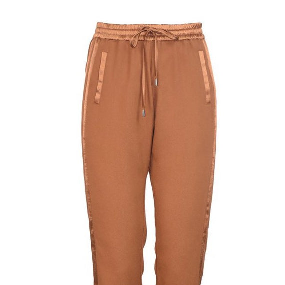 NU Denmark, Pants with Elastic Waist and Tie String, Shiny Tape Detail, Copper