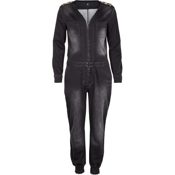 NU Denmark, Denim Jumpsuit, Beaded Features, Black