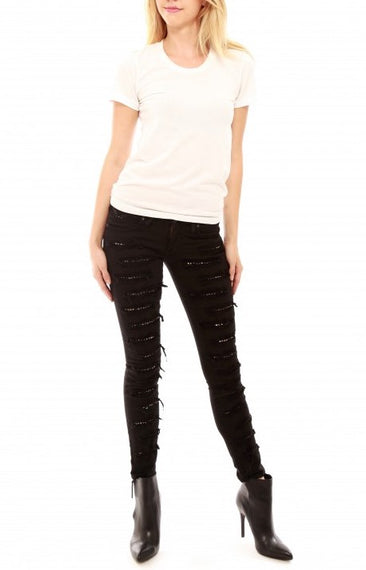 Robin's Jean Skinny Jeans Distressed with Crystals, Black